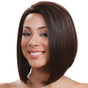 Ladies Wig Short Straight Hair Face-trimming Brown Wig Caps