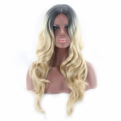 Women's Fashion Wig Light Yellow Gradient Long Curly Hair Personality Wig Hood