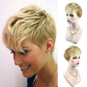 Royalfirst New Gloden Blonde Short Slight Wavy Hair Wig Heat Resistant Synthetic Wigs for Women Lady As Real Hair Wig