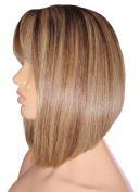 MOKLOX Wig Remy Human Hair Blend Wig Glueless Front Lace 25cm Bob Pob Lob Medium Brown Blonde 4 27 Fringe Bangs 180% Density