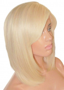 MOKLOX Wig Remy Human Hair Front Lace 30cm Short Medium Bob Light Blonde 60 613 Silky Straight Fringe Bangs 180%