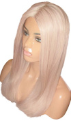 MOKLOX Wig 46cm Long Platinum White Blonde 60 Glueless Front Lace Silky Straight Thick 180% Density Remy Human Hair Silk Top