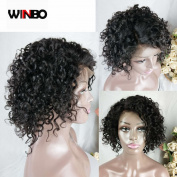 WINBOWIG 8A Short Curly Human Hair Full Lace Wig Brazilian Virgin Human Hair Lace Front Wigs Natural Hairline 150% Density Lace Wigs with Baby Hair For Black Women
