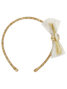 M & Co Disney Beauty and The Beast Princess Belle Gold Glitter Bow Detail Dress Up Hair Band