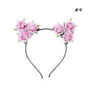 Landslide Girls Pink Rose Flower Hair Band Cat Ears Headband Handmade Cloth Flowers Hairband Cosplay Accessory
