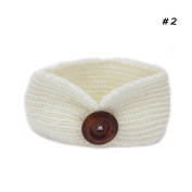 Landslide Girls White Sport Knitted Buttons Hair Band Headband Stretch Bowknot Hairband Accessory Sport