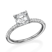 6.50MM D-F VS Moissanite Engagement Ring With Diamonds (0.42 ct Moissanite Weight, 1.44 ctw dew) Asscher Shape 14K Gold