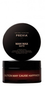 Previa Man Wax Matte Medium Hold Contains Organic Absinthe Caution !!! May Cause Happiness Blended in Italy 100 ml