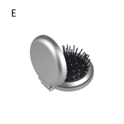 HERME Folding Compact Handy Mirror with Hair Brush Comb Silver