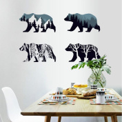 MLMSZ Snow Mountain Forest Silhouette Polar Bear Wall Sticker Animal Wall Decal for Living Room Porch Children Bedroom Study Classroom Nursery Kids Room Décor