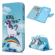 For Galaxy J5 2017 Case MAXFE.CO Smooth PU Leather Wallet Flip Case Cover Magnetic Closure Folio Kickstand Shell Card Holders Money Clip Case For Samsung Galaxy J5 2017 - Rainbow Horse