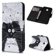 For Galaxy J5 2017 Case MAXFE.CO Smooth PU Leather Wallet Flip Case Cover Magnetic Closure Folio Kickstand Shell Card Holders Money Clip Case For Samsung Galaxy J5 2017 - Black Cat