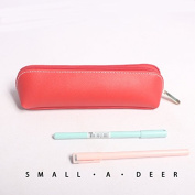 WRITIME Wholesale Pencil Cases Holders Two-sided PU high-capacity pen bag stationery bags for men and women pencil,red