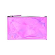 Pink metallic flat pencil case