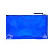 Blue metallic flat pencil case