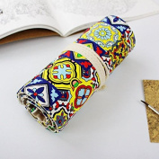 WRITIME Wholesale Pencil Cases Holders Canvas Large Capacity Handmade Cloth Curtain 36/48/72 Colour Pencil Bag Male and Female Students Multi-Layer Pen Bag Roll,B48 slot