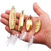 Sougayilang Spoon Fishing Lure Gold Metal with Treble Hooks and Feathers