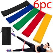 6PC RESISTANCE EXERCISE LOOP BANDS HOME GYM FITNESS PREMIUM NATURAL LATEX NEW