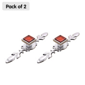 Zhi Jin 2Pcs Square Cabinet Knobs with Backplates Crystal Glass Furniture Drawer Knob Pulls Cupboard Red Large