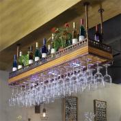 Hanging Mounted Metal Wine Rack,European Retro Iron and Wood Wine Glass Hanging Rack & Goblet Holder Shelf for Kitchen/ Bar / Restaurant