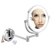AECHOO Wall Mounted Mirrors Makeup Shaving Mirror LED Lighted Luxury Bathroom Mirror for Hotel Vanity with Adjustable Extendable Sensor Active 22cm 10x Magnification Surface Chrome Finish