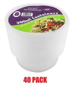 40 x 300ml ROUND PLASTIC CONTAINER & LIDS - Microwave & Dishwasher safe - .