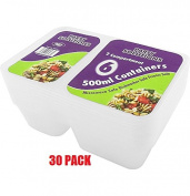 30 x 500ml 2 COMPARTMENT PLASTIC CONTAINER & LIDS - Microwave & Dishwasher safe - .