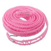 Unique Bargains5M Clothes Rope Nylon String Line Clothesline Pink w Hooks