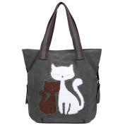 EGOGO Women's Canvas Handbag Cute Cat Totes Shoulder Bag Shopper Hobo Bag E523-4