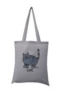 'Grey cat' silver grey cotton tote bag