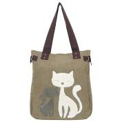 EGOGO Women's Casual Handbag Canvas Shoulder Bags Cute Cat Tote Shopping Bag E523-2