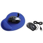 Insten Blue Wrist MousePad Mouse Pad+USB Optical Scroll Wheel Mouse