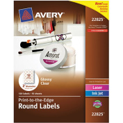 Avery Round Print-to-the-Edge Labels, 5.1cm dia, Glossy Clear, 120/Pack