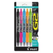 G2 Fashion Premium Retractable Gel Ink Pen, Black Ink/Asst. Barrels,.7mm, 5/Pack