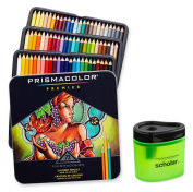 Prismacolor Premier Soft Core Coloured Pencil, Set of 72 Assorted Colours + Scholar Coloured Pencil Sharpener