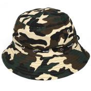 Outdoor Hunting Fishing Hiking Sun Camouflage Print Wide Brim Bucket Hat Cap