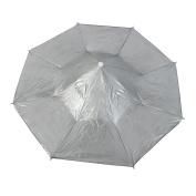 Unique Bargains Outdoor Fishing Tool Headband Foldable Umbrella Hat 80cm Dia Dark Green Grey