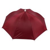 Unique Bargains Fishing Burgundy Nylon Sun Umbrella Hat Cap Headwear