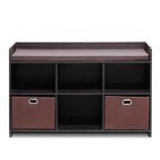 Furinno 13138EX/EX/BR Econ Storage Bench with Comfy Cushion