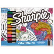 Sharpie Adult Colouring Kit, Aquatic Theme Colouring Book with 20 Markers