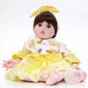 Hmhope 50cm Reborn Baby Doll Lifelike Soft Silicone Cloth Body Acrylic Eyes Cute Newborn Girl Toy & Gift