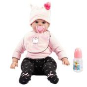 Hmhope Realistic Reborn Baby Doll Simulation Cloth Body Soft Silicone Acrylic Eyes Boy Girl Toy Festival Gifts 50cm/19.7 Inch