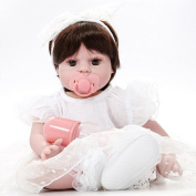 Hmhope Lifelike Reborn Baby Doll Eyes Open Cloth Body Soft Silicone Cute Acrylic Eyes Boys And Girls Toys Collectors Collection 50cm