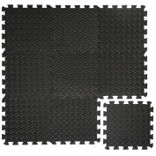 eyepower Protective Flooring 10mm thick Puzzle Fitness Mat Exercise Mats 9 pcs each 30x30cm in EVA foam overall dimension 0,81qm expandable Black