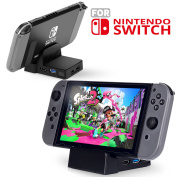 TSV Nintendo Switch Portable DIY Replacement Dock Mount Case with Type C/HDMI/USB Jack Incision without Electronics for Nintendo Switch-Black