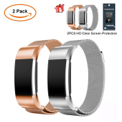 Fitbit Charge 2 Strap Band, JIM'S STORE Pack of 2 Milanese Mental Stainless Watchband Magnet Wristband Watch Wrist Replacement with 2 PCS Screen Protector for Fitbit Charge 2 Strap Band