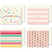 Hooray Cards W/envelopes 12/pkg-4 Designs/3 Each, Some W/rose Gold Foil