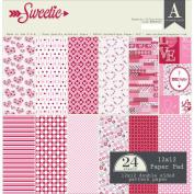Authentique Double - Sided Cardstock Pad 30cm x 30cm 24/Pkg - Sweetie, 6 Designs/4 Each