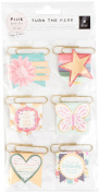 Paige Evans Turn The Page Pennant Paper Clips 6/Pkg-Gold W/Gold Foil Accent Chipboard