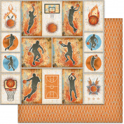 Teenagers Double-Sided Cardstock 30cm x 30cm -Basketball